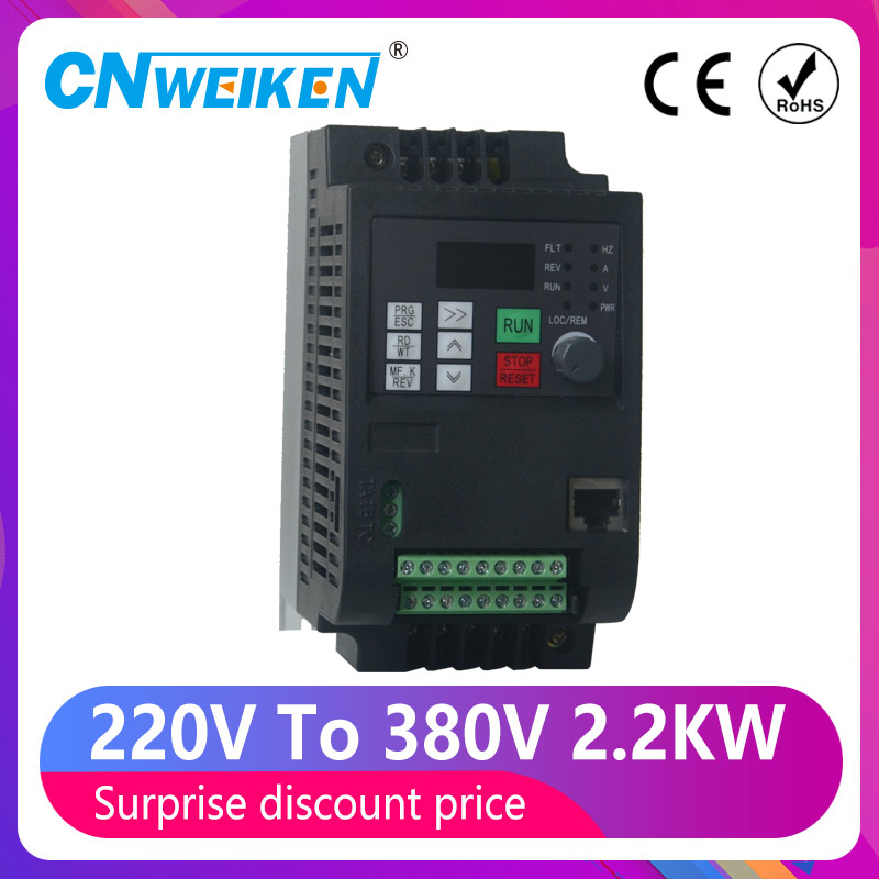 VFD 220V to 380V 0.75/1.5/2.2 3hp Variable Frequency Drive CNC Drive Inverter Converter for 3 Phase Motor Speed Control