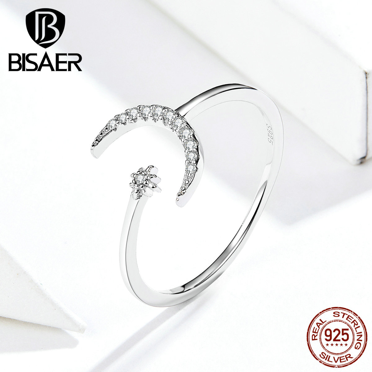 Moon Jewelry BISAER Hot Sale 925 Sterling Silver Moon Finger Rings For Women Cubic Zircon Wedding Bridal Jewelry Anel ECR569