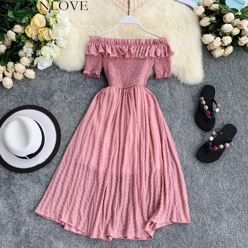OCEANLOVE Women Summer Dresses Plaid Slash Neck Off Shouder Solid Vestidos 2020 Ruffles A line High Waist Dress Robe Femme 11767