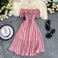 OCEANLOVE Women Summer Dresses Plaid Slash Neck Off Shouder Solid Vestidos 2020 Ruffles A-line High Waist Dress Robe Femme 11767
