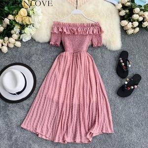 OCEANLOVE Women Summer Dresses Plaid Slash Neck Off Shouder Solid Vestidos 2020 Ruffles A-line High Waist Dress Robe Femme 11767(China)