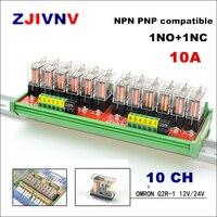 오므론 G2R-1 10a 12 v 24 v dc din 레일 장착 인터페이스 릴레이 모듈 plc 신호 절연 증폭기 보드가있는 10 채널