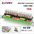 10 каналов с оригинальным OMRON G2R-1 10A 12V 24V DC din-рейка крепление интерфейс релейный модуль с plc разъемом усилитель изоляции сигнала