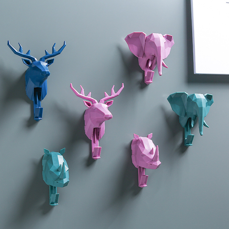 Elephant Rhinoceros <font><b>Deer</b></font> Head Animal Self Adhesive Clothing Display Racks Hook Coat <font><b>Hanger</b></font> Cap Room Decor Wall Bag Sticky image
