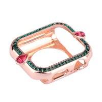 Luxus Frauen Metall Geschnitzt Abdeckung für Apple Uhr Fall Serie 6 SE 5 4 3 Diamant Stoßstange für iWatch 40mm 44mm 38mm 42mm Bling Shell