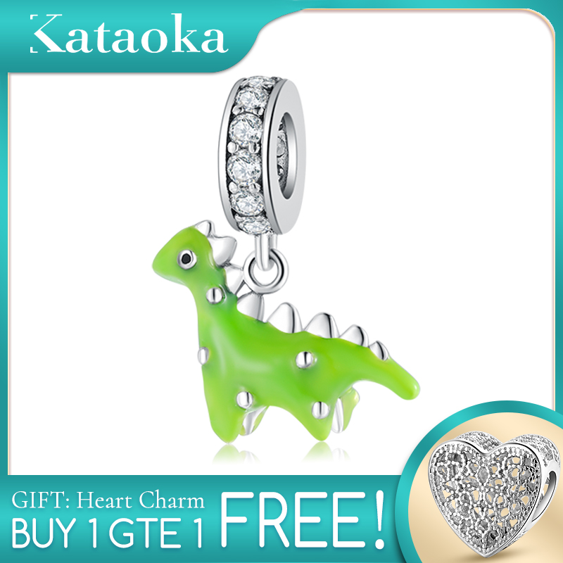 Hot Sale 925 Sterling Silver Green Enamel Dinosaur Beads Fit Original Pandora Charms Bracelets Making