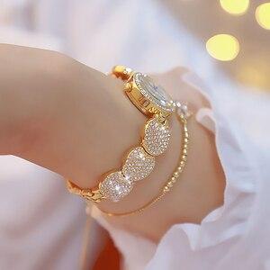Image 3 - Женские кварцевые наручные часы, модные золотистые наручные часы из нержавеющей стали с бриллиантами, женские наручные часы, браслет Wtach для девочек, 2019