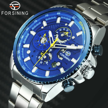 FORSINING Fashion Dress Automatic Mechanical Watch Men Blue Dial Chronograph Stainless Steel Strap Mens Watches Top Brand Luxury 2017 forsining china brand men watches dress automatic self wind watch black tourbillion dial imported 316l stainless steel band