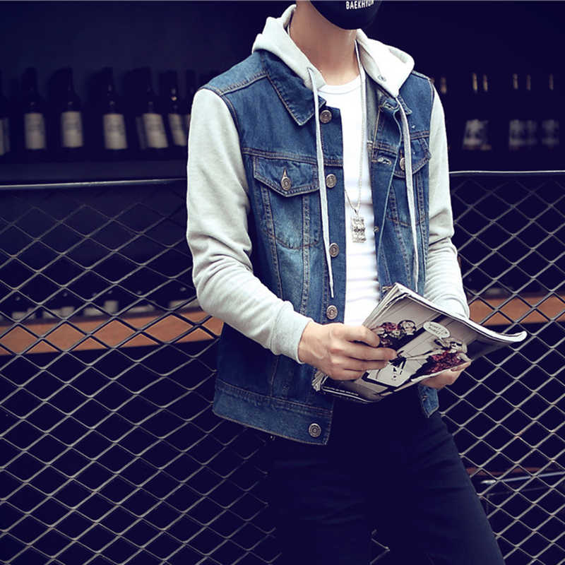Denim Jas Mannen Hooded Sportkleding Outdoors Casual Mode Jeans Jassen Hoodies Cowboy Mens Jacket Coat