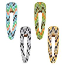 Indian Ethnic Style Faux Leather Hair Clip Women Girls Beach Vacation Side Bangs Barrette Wavy Stripes Print Duckbill Hairgrip