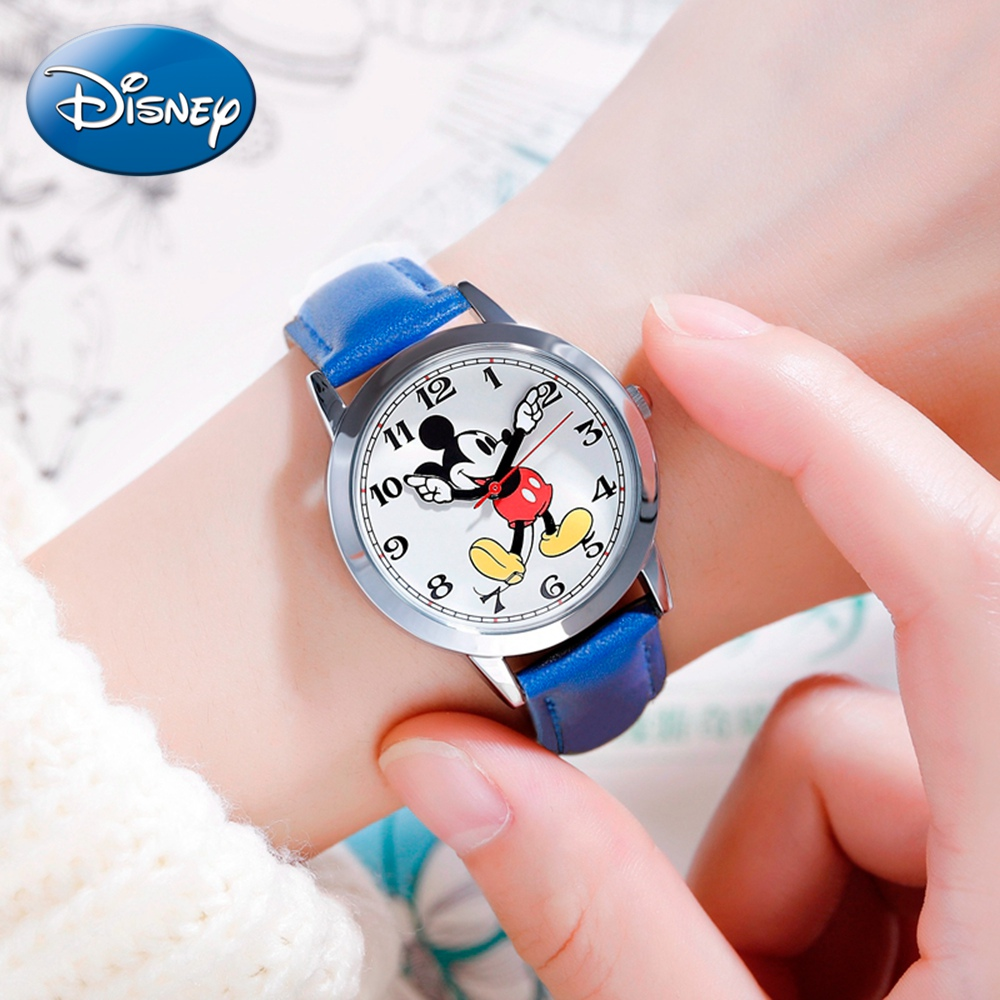 Mickey Mouse Children Waterproof Watch Clever Boy Girl Love Black Red Child Wristwatch Student Teen DISNEY Brand Clock Kids Gift