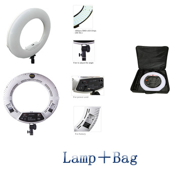 "Yidoblo White FS-480II Photography/Photo/Studio 18"" 480 LED Ring Light 5600K Dimmable Camera Ring Video Light Lamp + bag"
