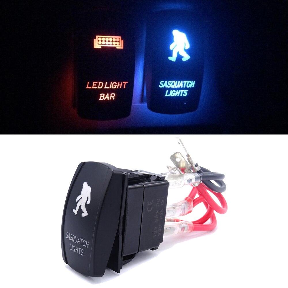 Лазерный светодиодный перекидной переключатель синий Универсальный огни снежного человека ВКЛ-ВЫКЛ 12V 20A подходит для автомобилей