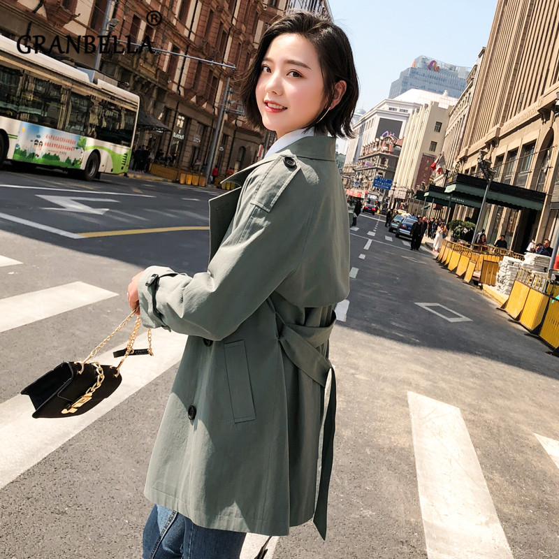 Women Short casual Solid Color   Trench   Coat Waist Belt Slim Thin 2 Colors Classic Double Breasted Female Windbreaker