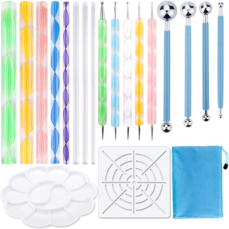 19PCS Mandala Dotting Tools Set Pen Dotting Tools Mandala Stencil Ball Stylus Paint Tray For Painting Rocks, Color, Draw & Draft