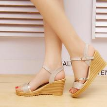 2018 Summer Gold Women Sandals Fashion High Heels Bling Buckle Gladiato