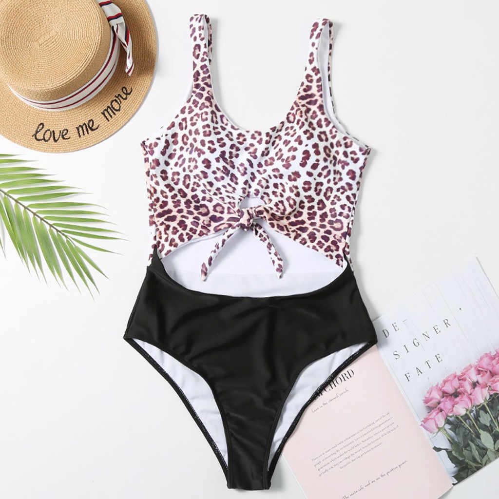 Léopard Patchwork Bikinis body pour femmes été plage Sexy rétro maillot de bain femme vacances Monokini creux bain Bikini