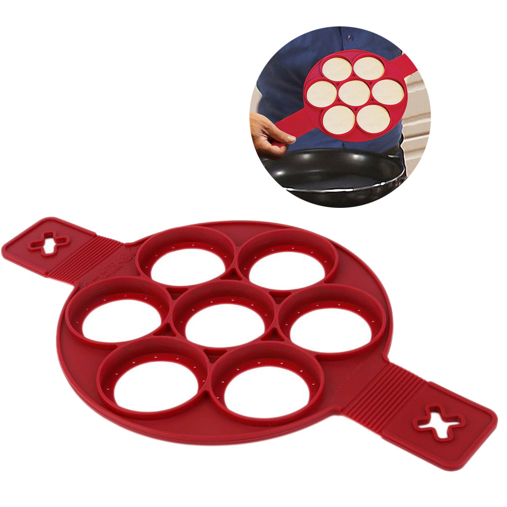 Silicon Pancake Mold 7 Holes Circular Fried Egg Molds Nonstick Flip Pancake Maker Omelette Egg Forms Rings Mold Creative Kitchen