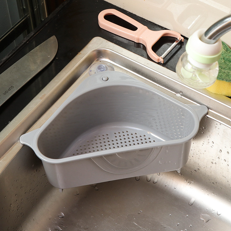 1 Pcs Suction Cup Sink Rack Soap Sponge Rack Kitchen Vegetable Rack Home Sink Drain Triangle Storage Rack