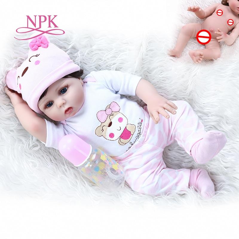 Популярный мягкий силиконовый reborn baby doll в розовом платье, 48 см, мягкий на ощупь, милый подарок на день рождения новорожденного