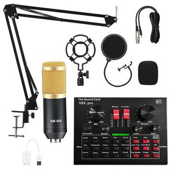 Zestaw mikrofonów pojemnościowych BM800 Pro z wielofunkcyjną kartą dźwiękową BT V8X PRO tanie i dobre opinie CN (pochodzenie)