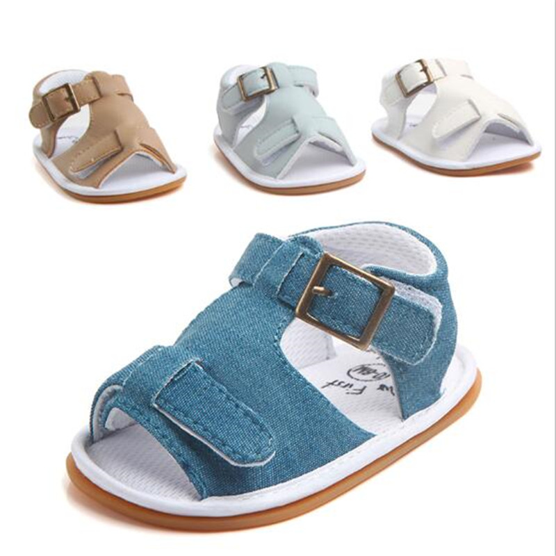Fashion Baby Summer Shoes Infants PU First Walkers Anti Slip Newborn Boys Shoes Rubber Sole Toddlers Shoes