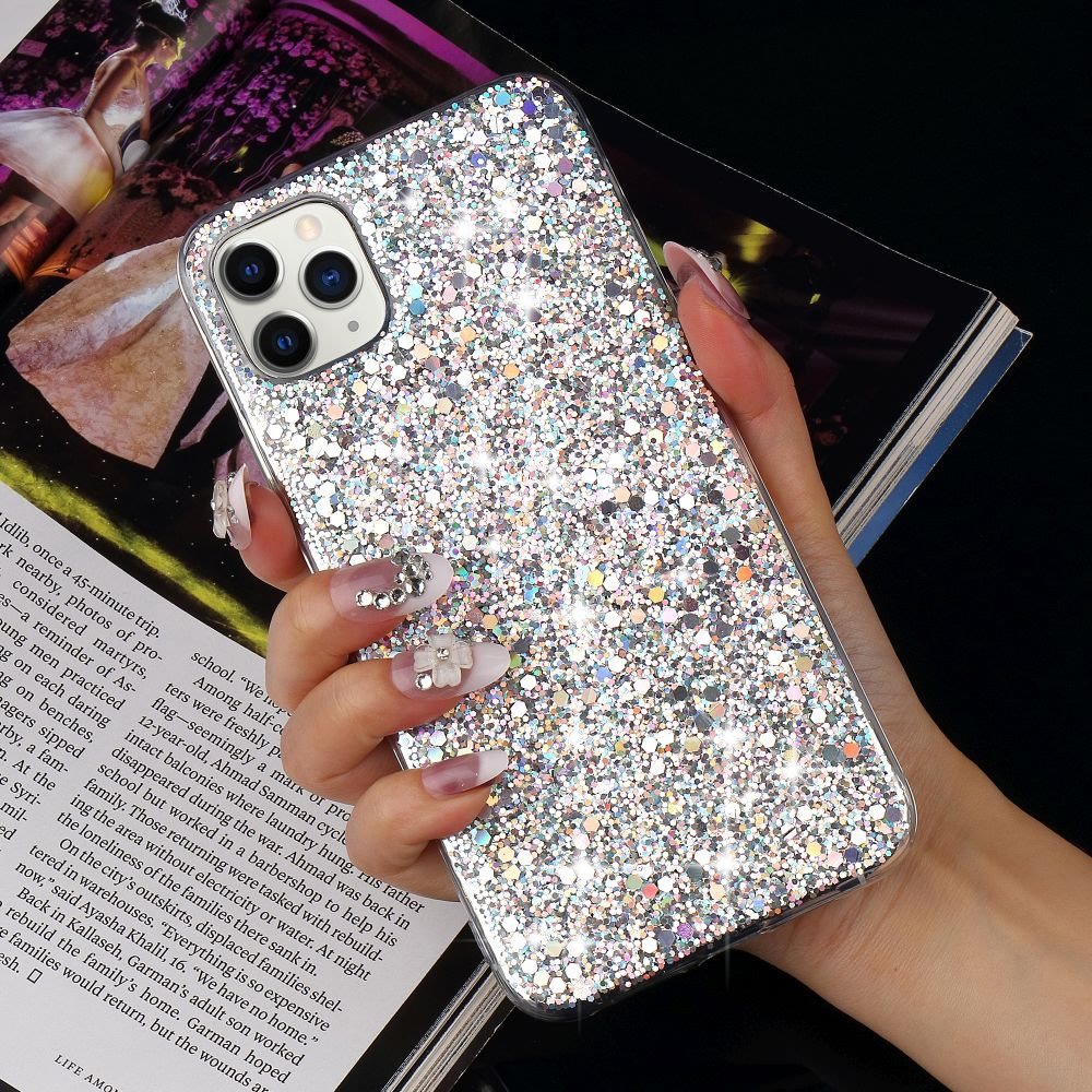 LAPOPNUT Luxury Glitter Sequins Soft Shockproof Silicone Case Cover for IPhone 11 Pro Xr Xs Max X 8 7 Plus 6 6s 5 5s SE 2020 12
