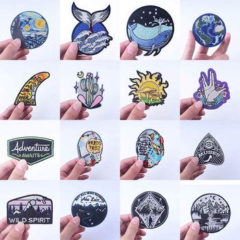 Mountains Travel Iron On Patches For Clothing Adventure Patch Natural Stripes DIY Van Gogh Patch Embroidered Patches On Clothes prajna van gogh patch military biker patch punk applique iron on embroidered patches for clothes stripes stickers on clothes diy