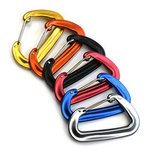 2PCS 12KN EDC Keychain Clip Carabiner High Duty Hook Outdoor Camping Hammock Spring Clasps Backpacking Hiking Buckle Split Hook(China)