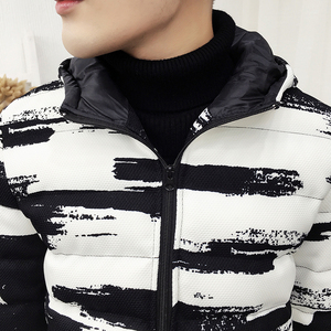 Image 3 - Winter Hooded Jacket Men Short Parka Black White Casual Warm Coat Thick Cotton Padded Jacket Male Hooded Parkas