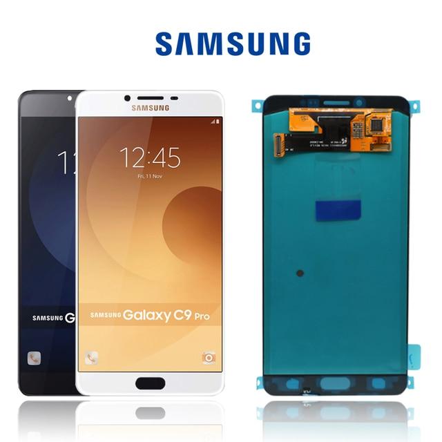 "100% ORIGINAL 6.0 ""SUPER AMOLEDจอแสดงผลLCDสำหรับSAMSUNG Galaxy C9 Pro LCD C9000 C9 LCD Touch Screen Digitizerเปลี่ยนชิ้นส่วน"
