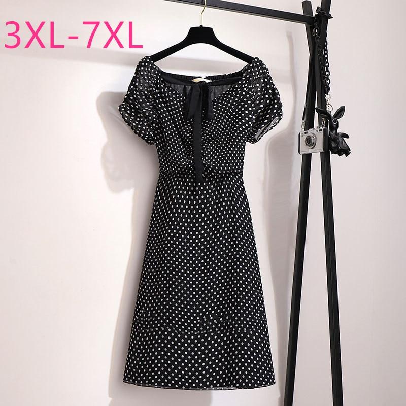 2020 new summer plus size dress for women large loose casual short sleeve elegant dot V neck dresses black 3XL 4XL 5XL 6XL 7XL