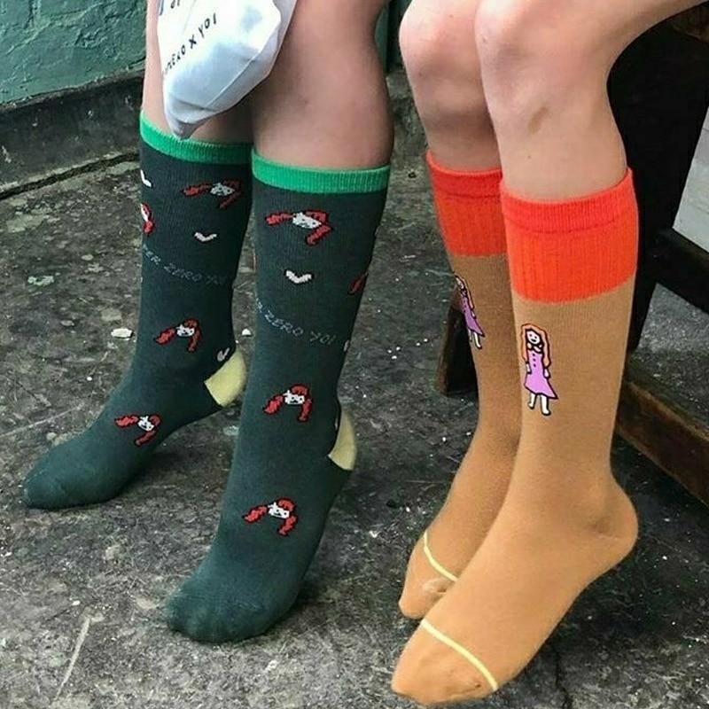 2 Pairs/Lot Kids Fashion Tube Socks Boy Cartoon Print Socks Rocket Pattern Girl Cotton Middle Socks Child Stylish Trends Tubes