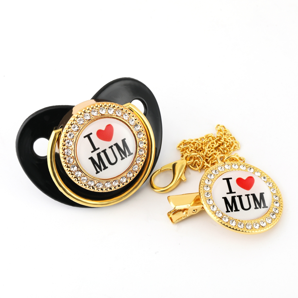 Luxury Diamond Crystals Black Baby Pacifier Rhinestones Bling Bling Pacifier Chain Clip I Love Mum Dad Dummy Soother Holder