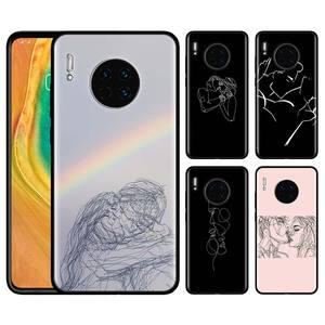 Minimalist Line Couple Kiss Hand Painted Soft Case for Huawei Mate 20 30 Lite Mate 10 20 30 Pro 5G Y5 Y6 Y7 Y9 Prime 2019 Shell