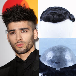 Toupee Hairpieces Curly-Skin Human-Hair Wigs Replacement-System Natural-Black Pu/thin