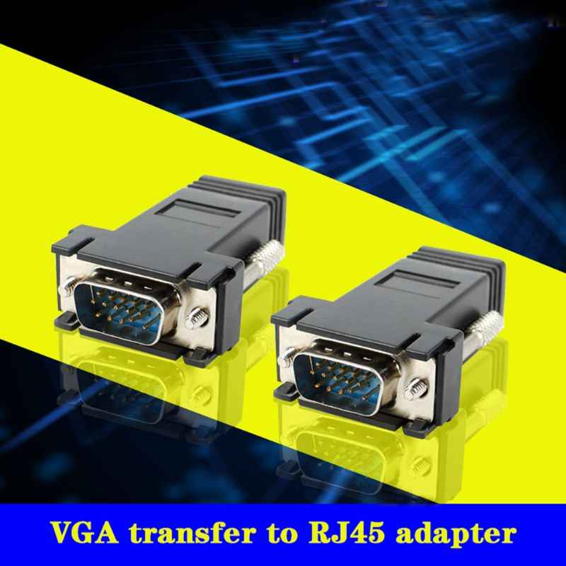 VGA موسع ذكر إلى Lan Cat5 Cat5e/6 RJ45 محول إيثرنت أنثى محول