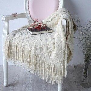 Image 2 - Nordic Gebreide Gooi Draad Deken Op Het Bed Bank Plaid Reizen Tv Dutje Dekens Zachte Handdoek Bed Plaid Tapijt