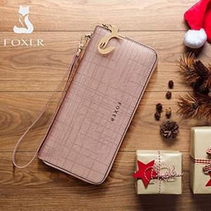 Image 2 - Foxer女性のスプリット革ロング財布女性のクラッチバッグファッションカードホルダー高級携帯電話の財布ジッパー財布