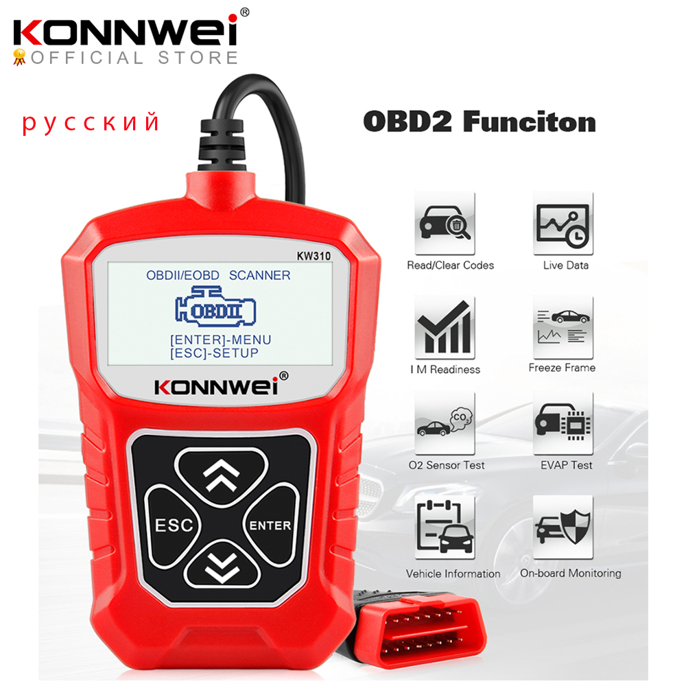 KONNWEI KW310 OBD2 Scanner  Russian Language Car Diagnostics Tool OBD 2 Car Scanner for Auto ODB2 Car Tools Better Than ELM327