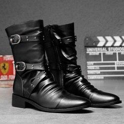 Genuína Botas De Couro Homens Sapatos de Inverno Da Moda Mens Motercycle Botas Homens Tornozelo Botas Outono Inverno Masculino Calçado A1844