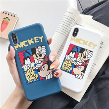 for iPhone 8s 7 6S 6 Plus Soft TPU Mickey Mouse Case for iPhone Xs Max Xr Solid Color Silicone Drop Protection Case(China)