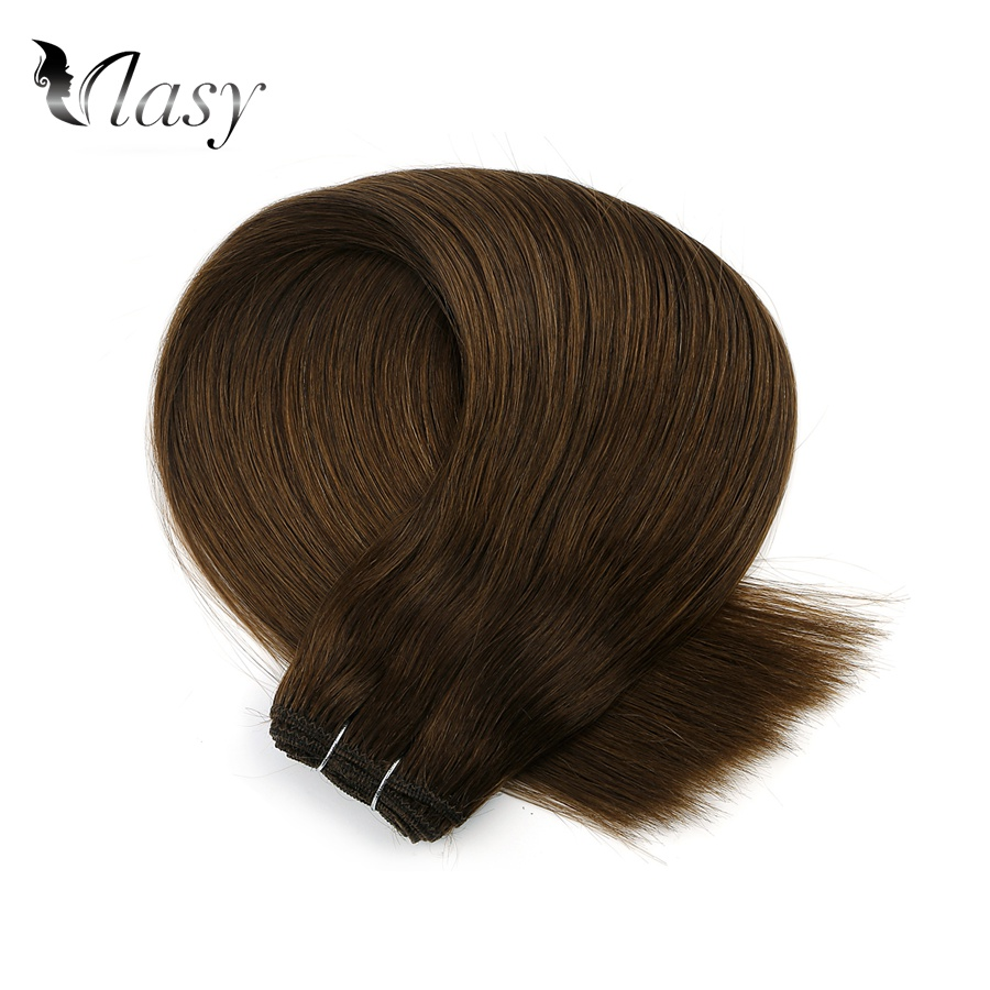 Vlasy 20'' Natural Brazilian Remy Human Hair Weave Bundle Dark Color Straight Double Drawn Human Hair Weft Extensions 100g/piece