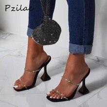 Pzilae/Новые летние женские шлепанцы босоножки из ПВХ на высоком каблуке с вырезами и кристаллами пикантные женские вечерние и свадебные туфли женские туфли без задника; Размеры 35-42