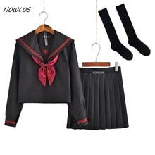 Темный демон, японский JK, наборы, школьная форма, для девочек, Сакура, вышивка, осень, средняя школа, для женщин, новинка, матросские Костюмы униформы XXL
