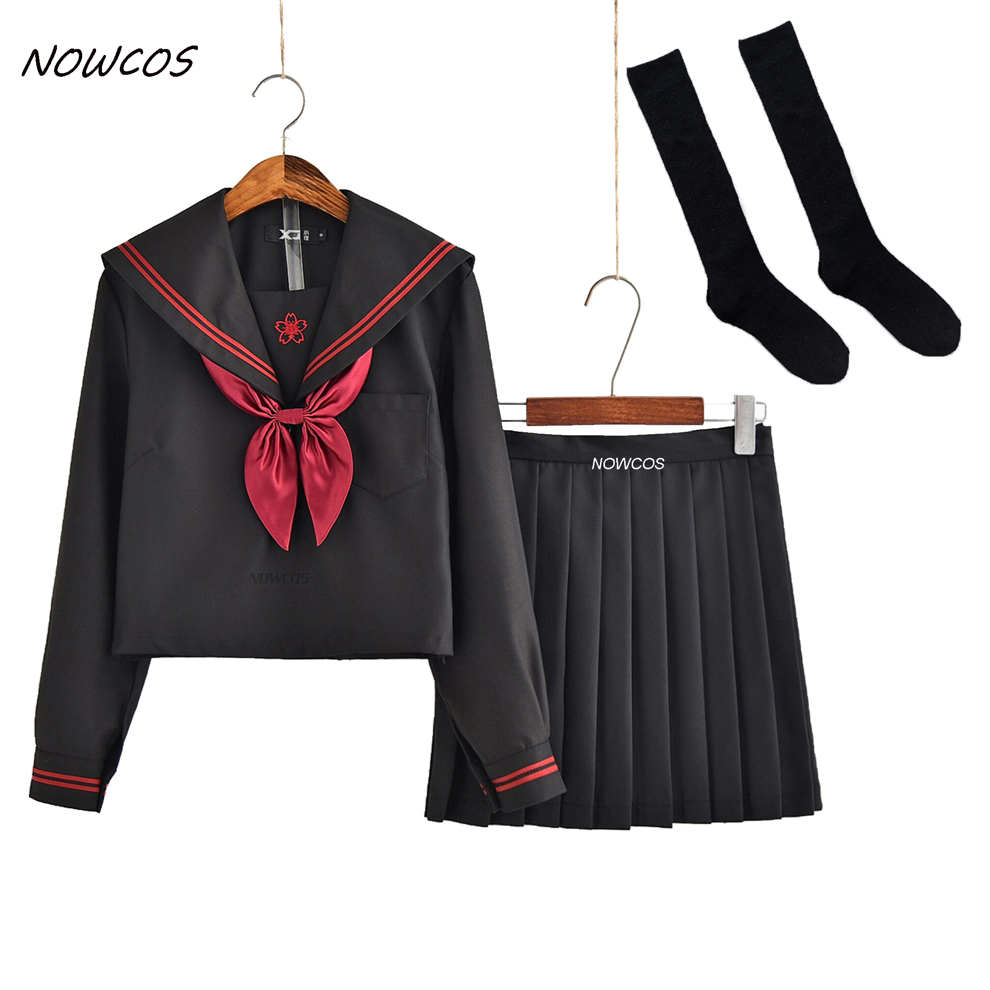 Dark Demon Japanese JK Sets School Uniform Girls Sakura Embroideried Autumn High School Women Novelty Sailor Suits Uniforms XXL