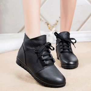 Image 2 - DONGNANFENG المرأة جلد طبيعي الإناث السيدات امرأة الأحذية الأحذية الدانتيل يصل أفخم الفراء الدافئة الشتاء الخريف الكاحل 35  41 GP KMM001