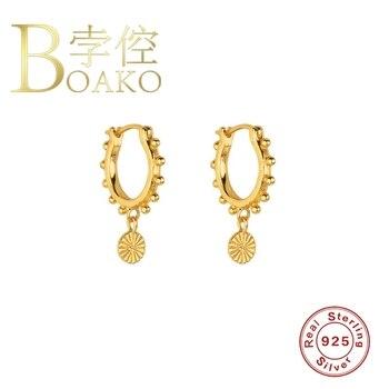 BOAKO 925 Sterling Silver Earrings For Women Hoops  Bijoux Femme Round Beads Popular Luxury Silver/Gold Jewelry