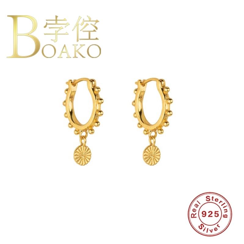 BOAKO 925 Sterling Silver Earrings For Women Earrings Hoops Bijoux Femme Round Silver Beads Popular Luxury Silver/Gold Jewelry