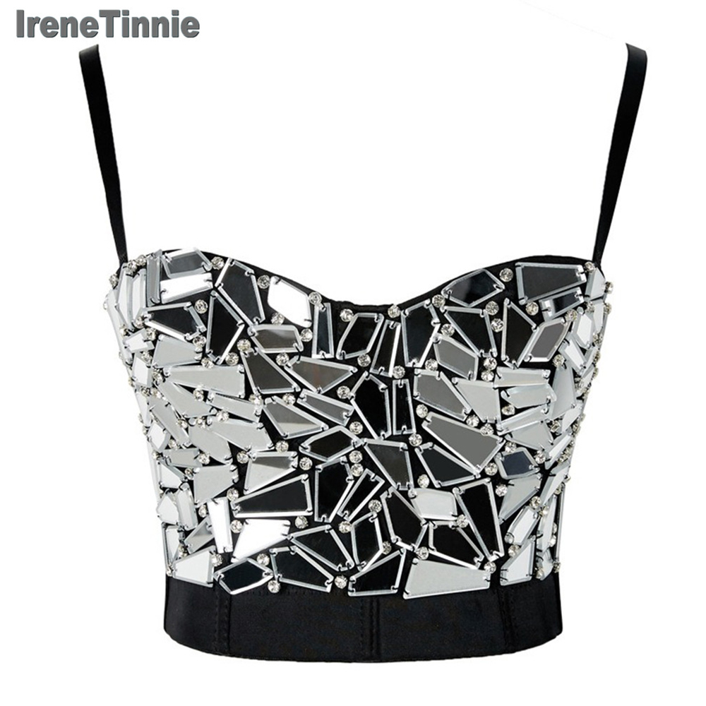 IRENE TINNIE Women's Silver Sequin Cropped Tops Rhinestone Pearl Tank Top Glitter Sexy Bustier Tops Rave Festival Party Vest